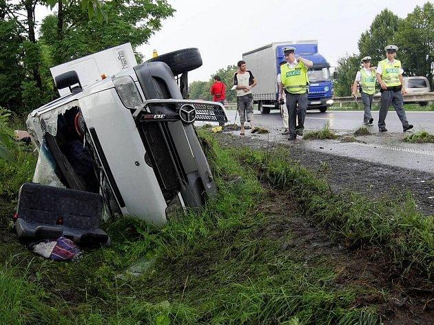 Nehoda dodávky u Křelova