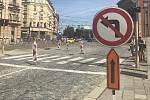 Uzavírka části Palackého ulice v Olomouci od 29. června 2019. Ze třídy Svobody ke zdravotnické škole neodbočíte
