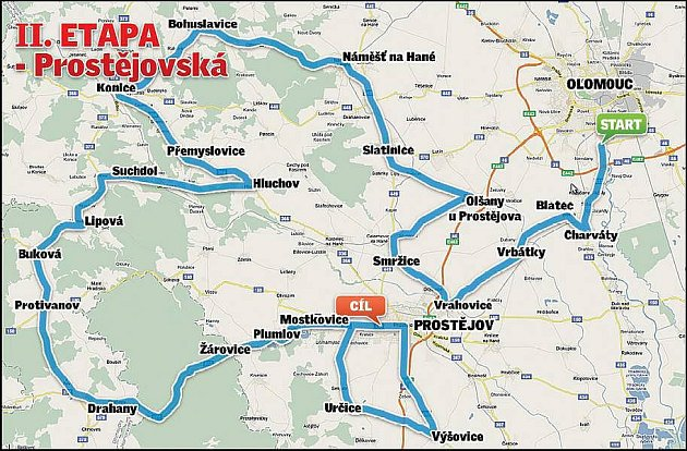 Czech Cycling Tour 2010 - II. etapa, 9.7.Olomouc - Prostějov /144 km/, start 13:00