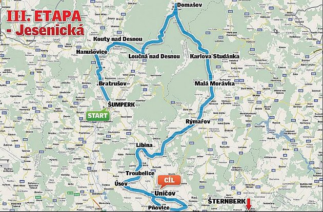Czech Cycling Tour 2010 - 3. etapa, 10.7. Šumperk - Uničov /193,5 km/, start 11.00