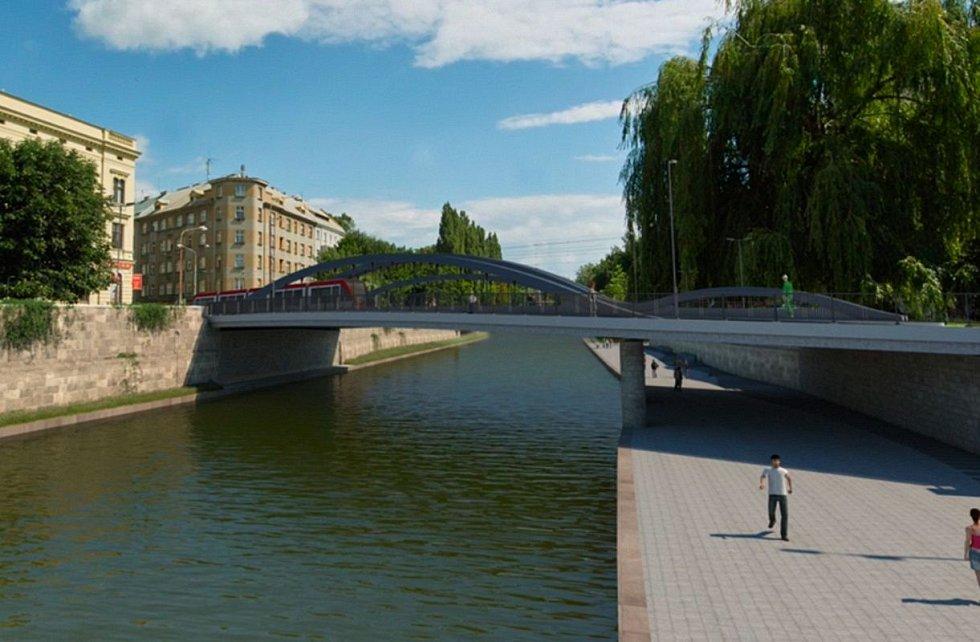 Vizualizace budované náplavky u řeky Moravy mezi mosty v Komenského ulici a na Masarykově třídě v Olomouci