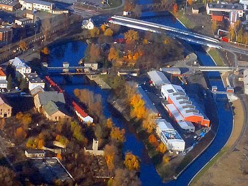 Nově vzniklý ostrov na řece Moravě v Olomouci.