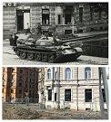 Okupační tank v srpnu 1968 před restaurací Bristol na mostě přes Moravu. Po padesáti letech je most pryč, chystá se stavba nového