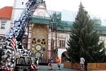 Usazení vánočního stromu na Horním náměstí v Olomouci