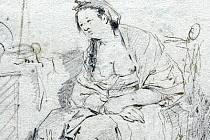 "Josef Winterhalder ml. dle Jean-Babtisty Greuze, ""La Paresseuse italienne"", po r. 1757, tužka, pero na papíru, VMO Olomouc"