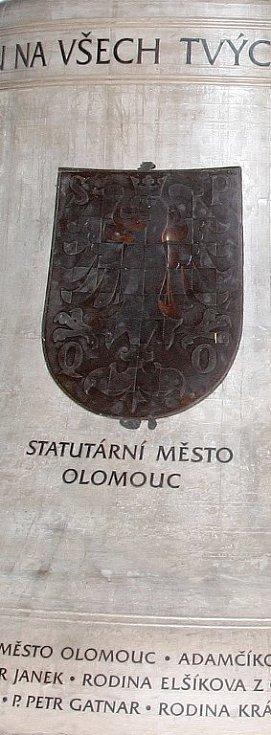 Model třetího zvonu pro chrám sv. Michala: reliéf se znakem Olomouce.