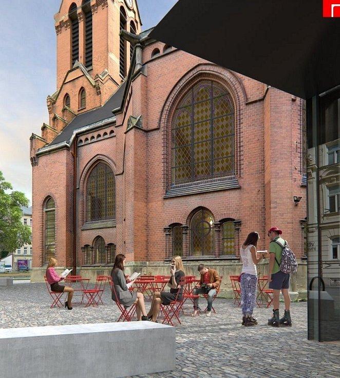 Vizualizace proměny a dostavby Červeného kostela v Olomouci