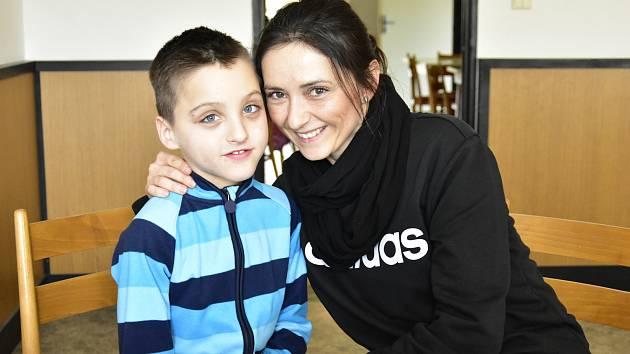Dětské odpoledne pro Tomička v Grygově, 15. 2. 2020.Tommy Burghardt a jeho maminka Andrea Plachá z Velkého Týnce