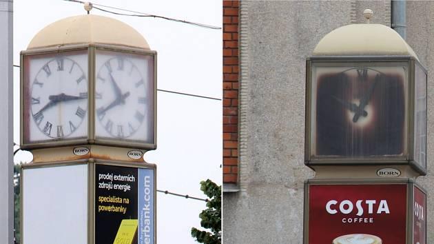 Otočné reklamní hodiny v Olomouci. O čas tady nejde....