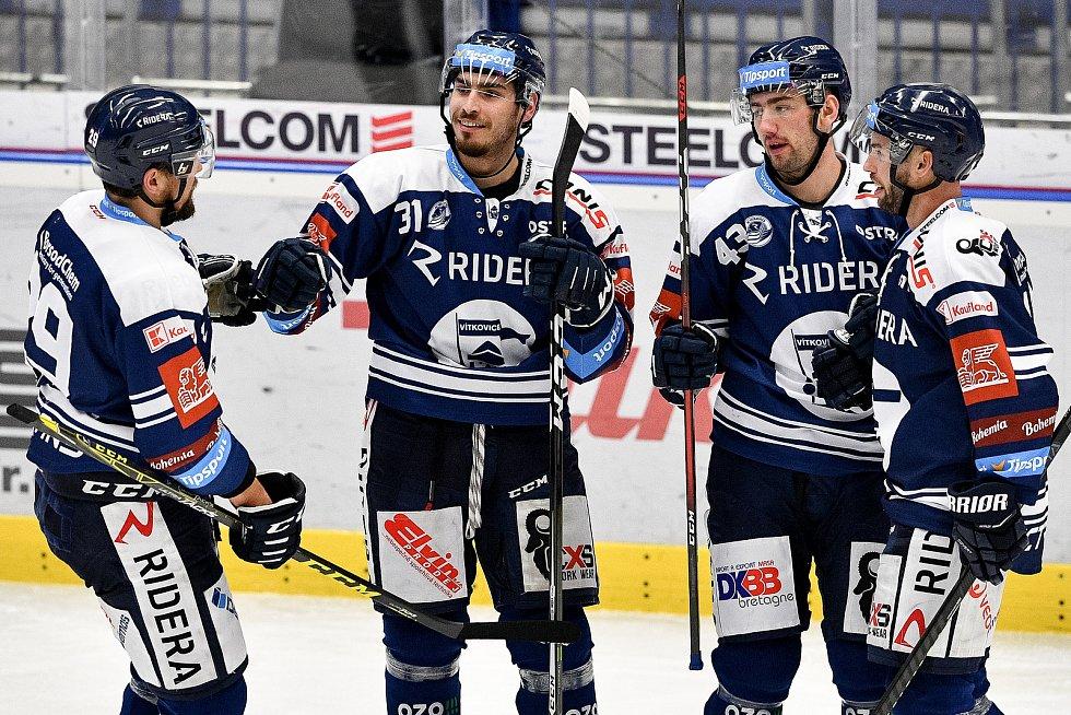 Utkání 38. kola hokejové extraligy: HC Vítkovice Ridera - HC Olomouc, 22. Ledna 2021 v Ostravě. (střed) Dominik Lakatoš z Vítkovic oslavuje gól.