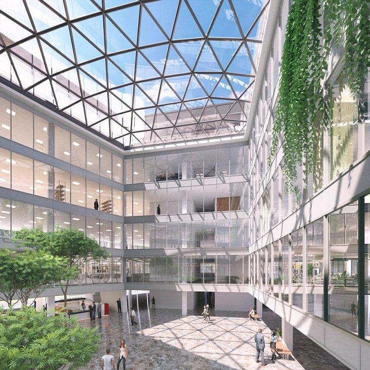 Vizualizace administrativního komplexu Envelopa Office Center na rohu ulice Wittgensteinova a tř. Kosmonautů v Olomouci