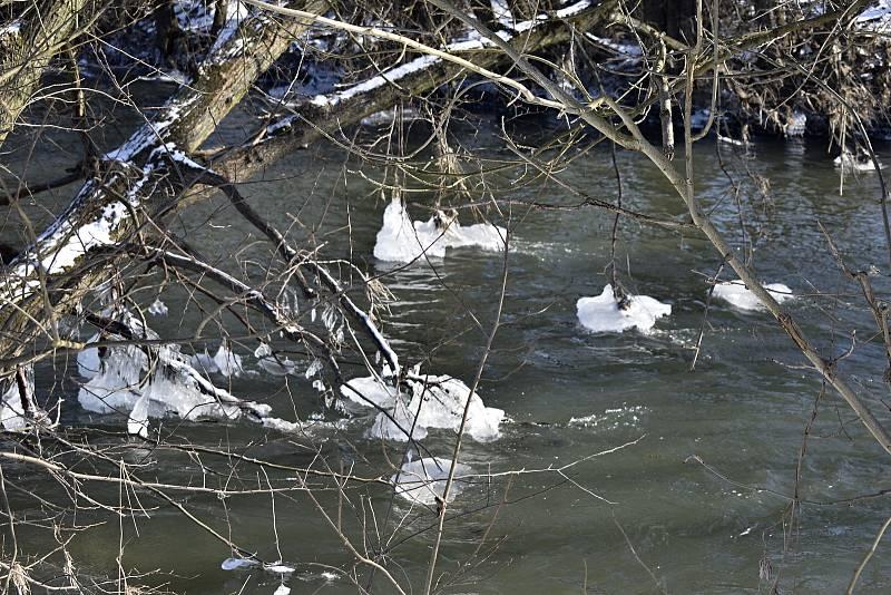 Ledovou krásu vyrobil proud řeky Moravy u železničního mostu v Moravičanech.