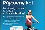 Nový plakát ČD propagující půjčovny kol.