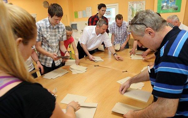 Eurovolby - sčítání hlasů volební okrsek 41na ZŠ Heyrovského vOlomouci