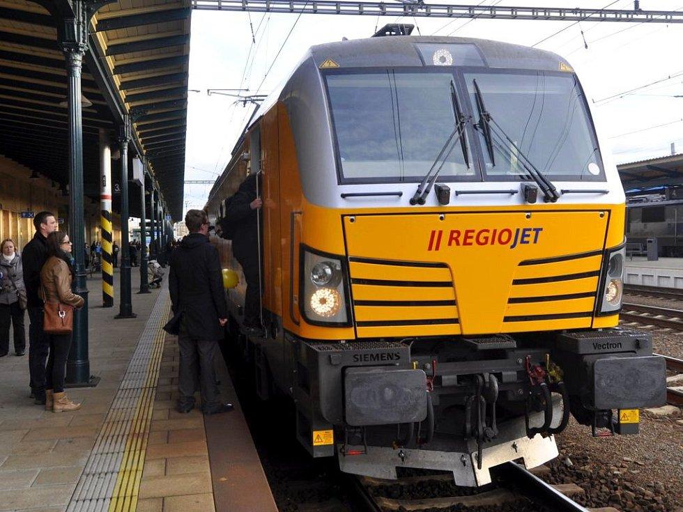 Souprava RegioJet na nádraží v Přerově