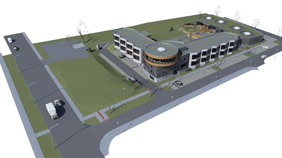 Celkový pohled na areál budoucí Waldorfské školy v Olomouci
