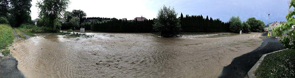 Zaplavená Cholina po bouřce, 1. 7. 2019