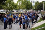 Okolí Androva stadionu před zápasem Evropské ligy mezi Zlínem a Tiraspolem