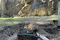 Obnova vodopádu v Bezručových sadech, 26. září 2021