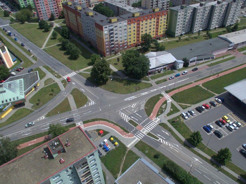 Rozšíření tramvajové trati na Nové Sady a do Slavonína. Na snímku je vizualizace - stav před - Zikova - Schweitzerova ulice