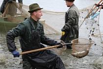 Výlov rybníka v Šumvaldu v pátek 16. října.