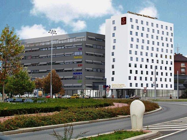 Návrh podoby kongresového centra na místě hotelu Sigma.