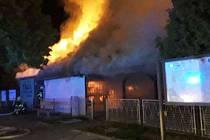 Požár zahradního výčepu v Uničově, 19. 9. 2019