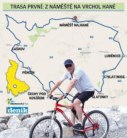 Shejtmanem na kole po Olomouckém kraji - 1.trasa zNáměště na vrchol Hané