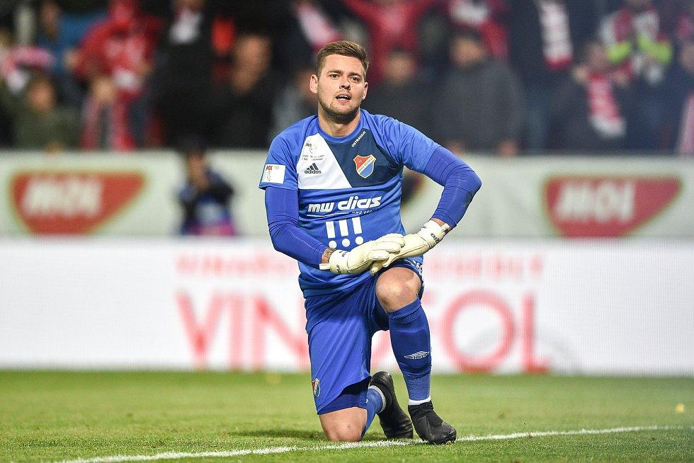 Finále fotbalového poháru MOL Cupu: FC Baník Ostrava - SK Slavia Praha, 22. května 2019 v Olomouci. Gólman Baníku Viktor Budinský.