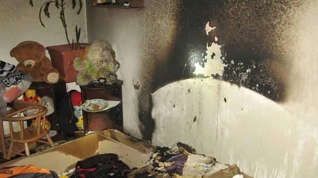 Požár bytu v Litovelské ulici v Uničově