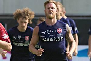 Tomáš Kalas na tréninku české fotbalové reprezentace v Olomouci