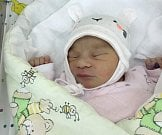 Anna Krasavinová, Prostějov, narozena 14. července, míra 50 cm, váha 3200 g