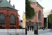 Proměna červeného kostela v centru Olomouce začíná.  Vlevo oplocení 6. října 2020, vpravo vizualizace nové přístavby a okolí