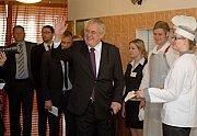 Prezident Zeman na Střední škole gastronomické v Jeseníku