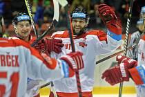 Petr Kolouch (uprostřed) slaví gól do zlínské branky