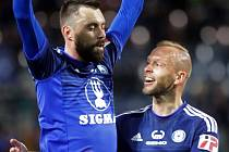 Michal Ordoš slaví první gól do sítě Baníku