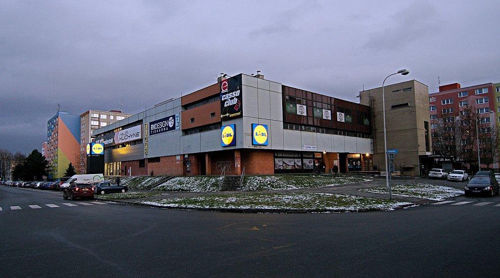 Obchodní dům TIMPO a nová prodejna Lidl na třídě Svornosti v Olomouci. 13. ledna 2021