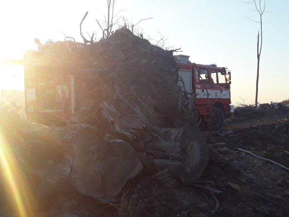 Hasiči během pondělí 6. dubna likvidovali požáry na devíti místech Olomouckého kraje. Požár u Petrovic.