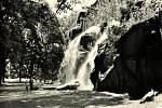 Podoba vodopádu v Bezručových sadech v sedmdesátých letech minulého století