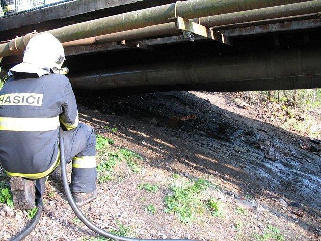 U požáru pod lávkou u křižovatky ulic Michalské stromořadí a Kateřinská v Olomouci v úterý 19.4.2011 zasahovali před šestou hodinou odpolední hasiči. Těsně vedle ohně spala osmatřicetiletá žena, která naštěstí vyvázla bez zranění.