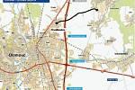 Východní tangenta přetne silnici mezi Chválkovicemi a Samotiškami