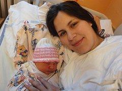 Anežka Navrátilová, Pňovice, narozena 11. května v Olomouci, míra 52 cm, váha 3860 g.