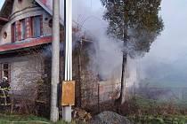 Požár rodinného domu ve Velkém Týnci s tragickým koncem - 14. ledna 2019