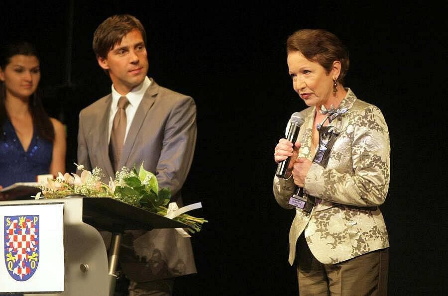 Slavnostní předávání Cen města Olomouce: moderátor Roman Vojtek a Hana Maciuchová