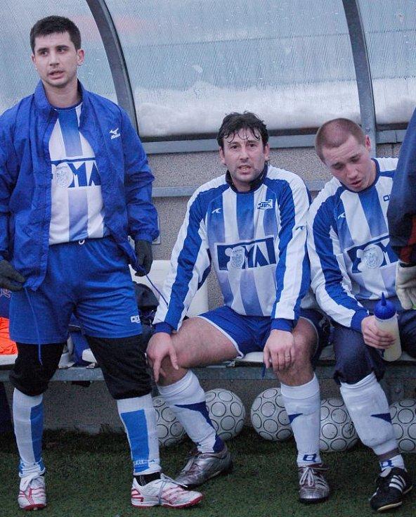 Marek Hollý (uprostřed), bývalý hráč SK Sigma Olomouc, nyní hrající trenér a manažer MŠK Fomat Martin.