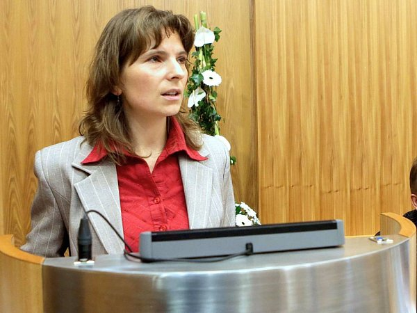 Dominika Kovaříková ze sdružení Občané pro Olomouc na jednání olomouckého zastupitelstva