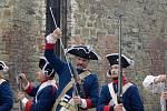 Bojové ukázky z rakousko-pruské bitvy u Domašova nad Bystřicí a Olomouce v roce 1758 na fortu v Radíkově
