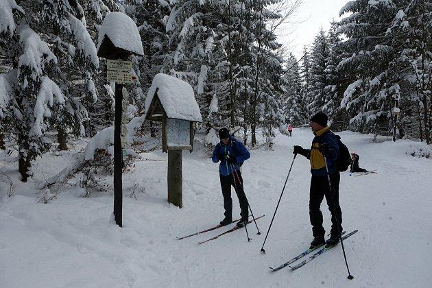Chata Skřítek vJeseníkách je výchozí místo pro běžkování. Sobota 16.ledna 2021