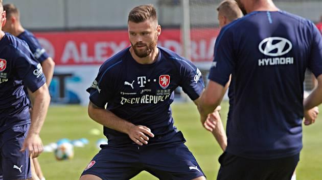 Ondřej Čelůstka na tréninku české reprezentace