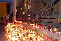 Pieta za Václava Havla u orloje ne olomouckém Horním náměstí